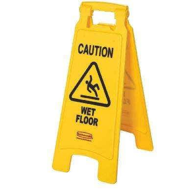 25 in. x 11 in. Plastic 2-Sided Caution Wet Floor Sign