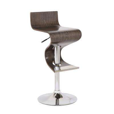 Bentwood Weathered Oak Modern Adjustable Swivel Bar Stool with Curved Seat and Back