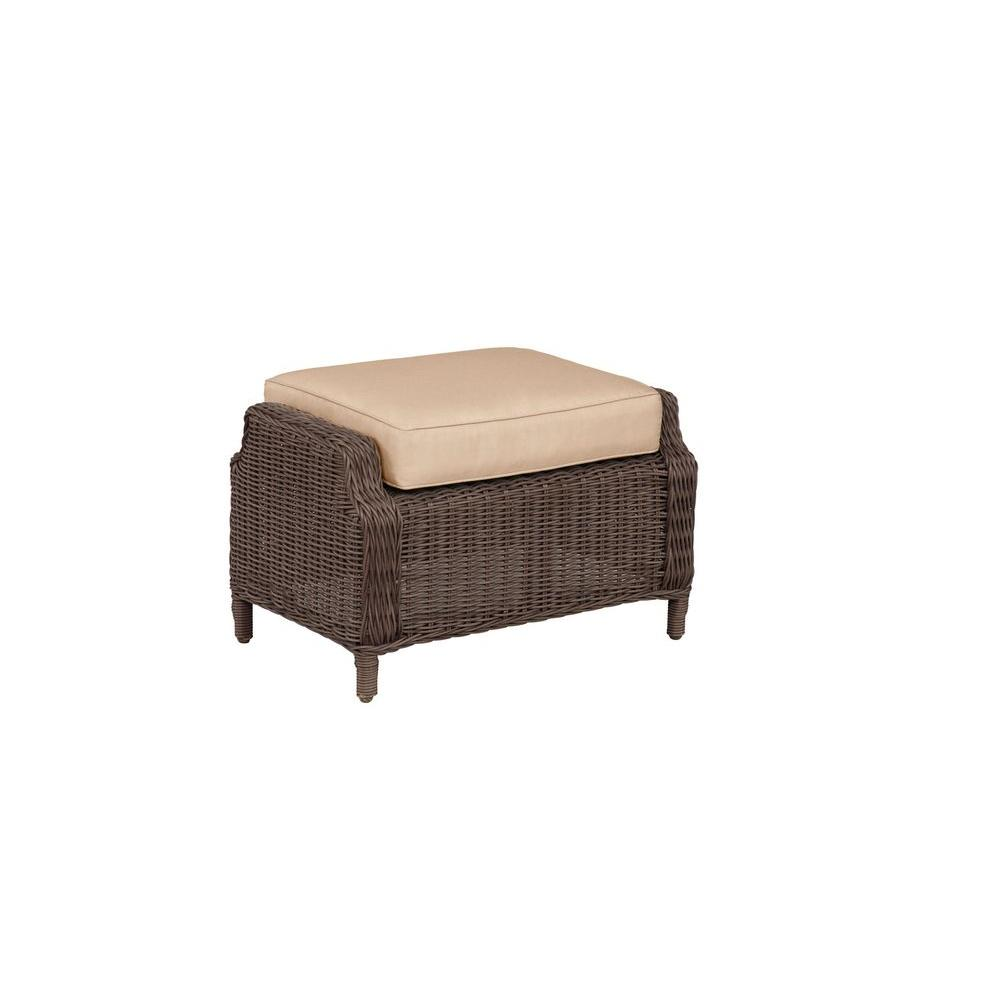 Brown Jordan Vineyard Patio Ottoman with Harvest Cushion ...