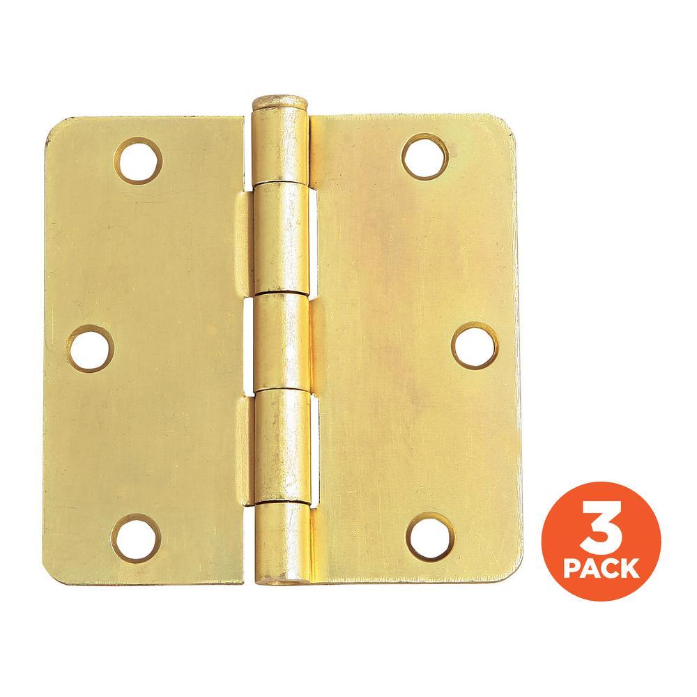3-1/2 in. x 1/4 in. Radius Satin Brass Door Hinge Value Pack (3 per Pack)