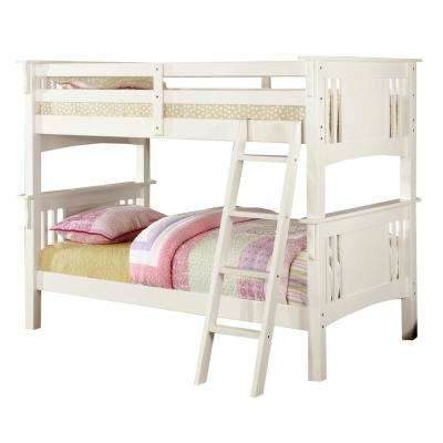 Spring creek Twin Bunk Bed in White Finish