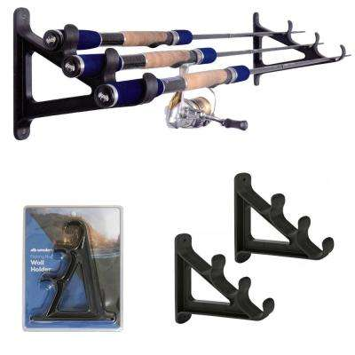 Fishing Rod Wall Rack Holds 3 Rods - Space Saving Organizer
