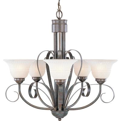 Florentia 5-Light Interior/Indoor Imperial Bronze Hanging Chandelier with Scavo Glass Bell Shades