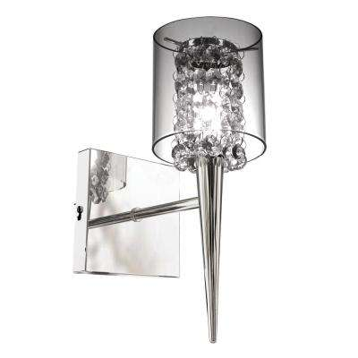 Glam Series 1-Light Chrome Wall Fixture with a Clear Round Glass Shade