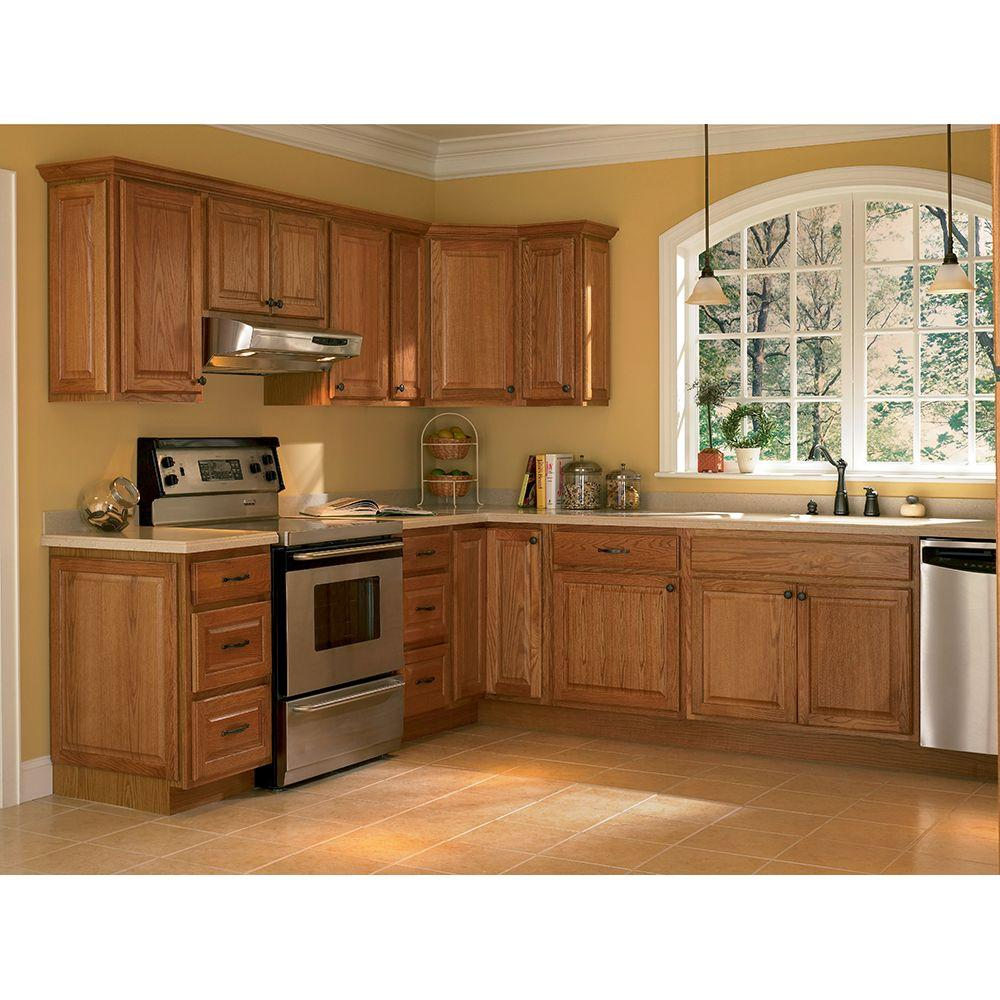 Oak Cabinet Kitchen Ideas Top Medium Oak Kitchen Cabinets: Hampton Bay Hampton Assembled 30x18x12 In. Wall Bridge