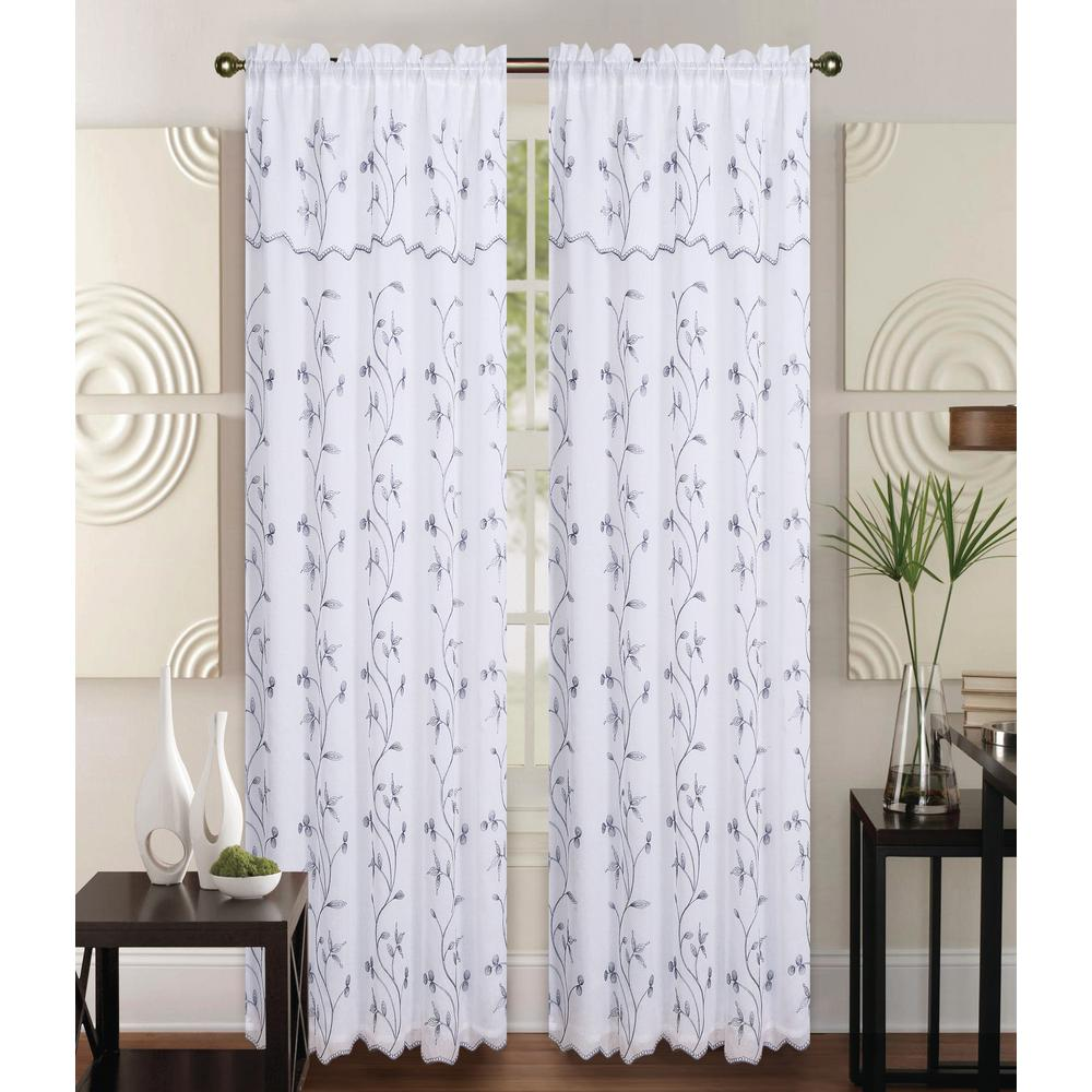 Kashi Home Alma 55 In X 84 In Rod Pocket Curtain Panel In