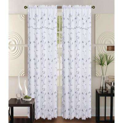 Alma 55 in x 84 in Rod Pocket Curtain Panel in White/Silver