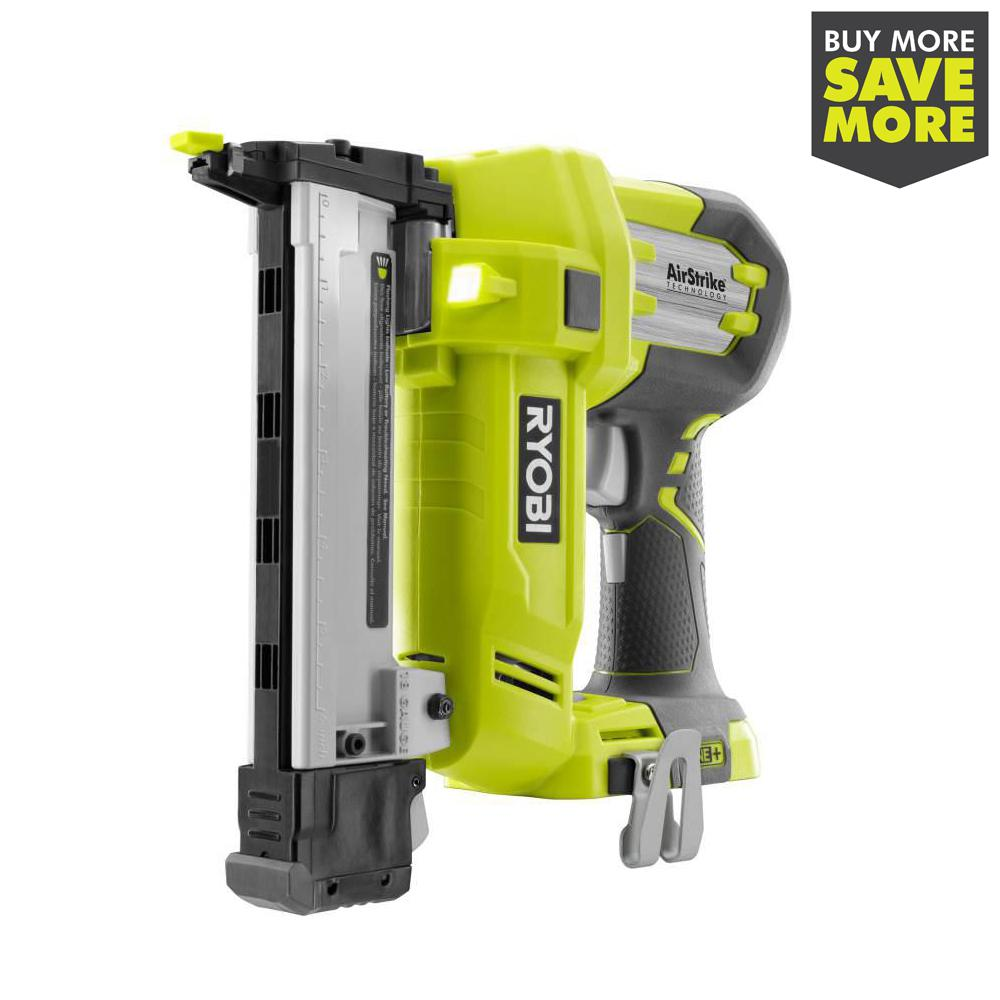 RYOBI 18-Volt ONE+ Lithium-Ion AirStrike 18-Gauge Cordless Narrow Crown Stapler with Sample Staples (Tool Only)
