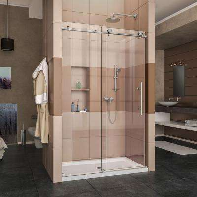 Enigma-X 36 in. x 48 in. x 78.75 in. Frameless Sliding Shower Door in Brushed Stainless Steel and Center Drain Base
