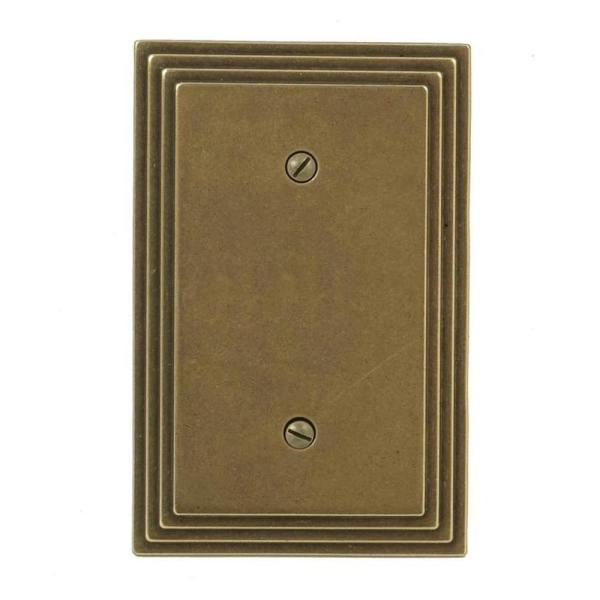 Tiered 1 Gang Blank Metal Wall Plate - Rustic Brass