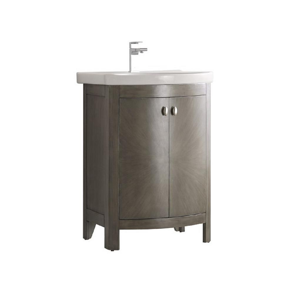 Fresca Niagara 24 in. W Traditional Bathroom Vanity in Antique Silver with Vanity Top in White with White Basin