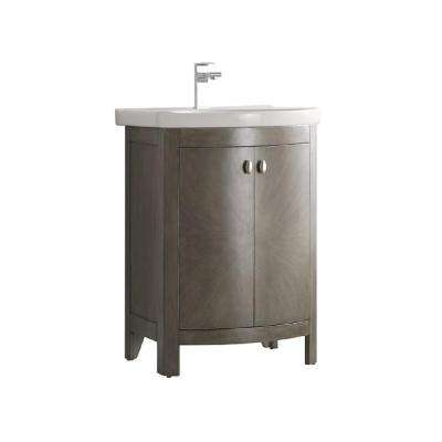 Niagara 24 in. W Traditional Bathroom Vanity in Antique Silver with Vanity Top in White with White Basin