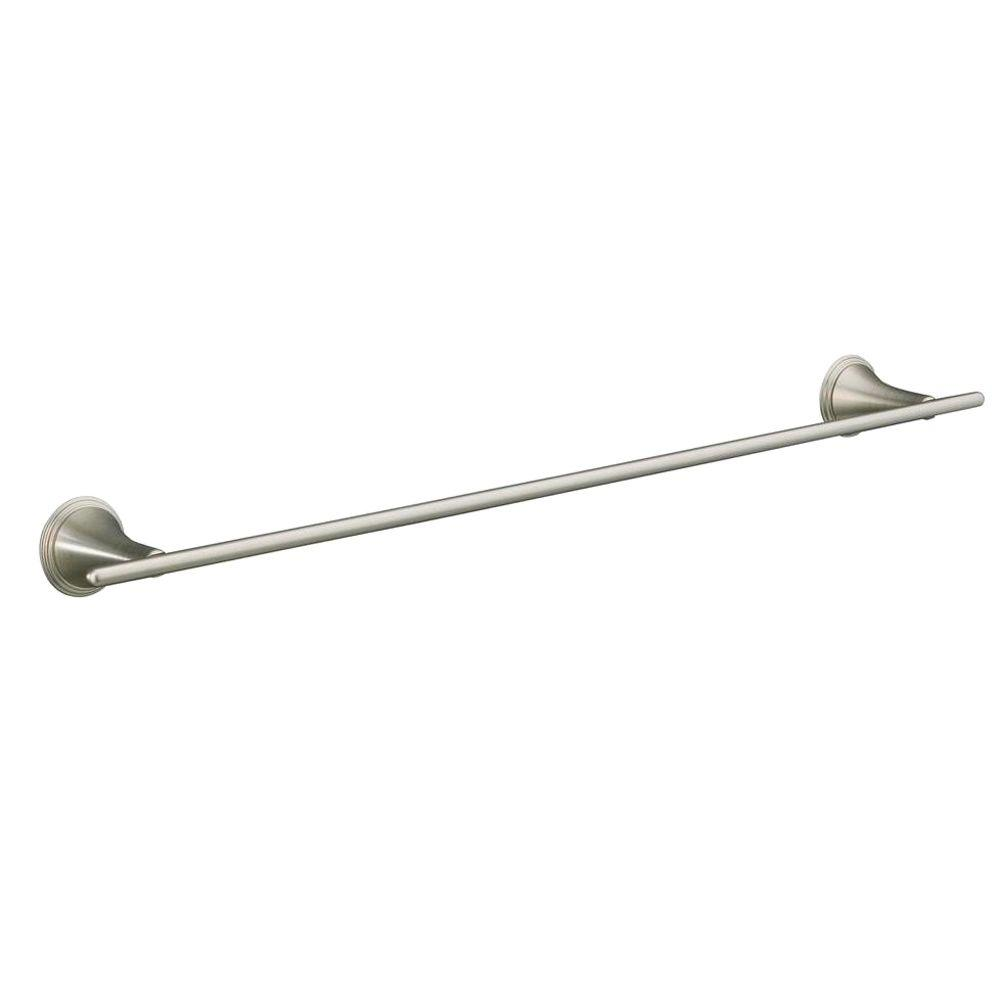 Finial Traditional 24 in. Towel Bar in Vibrant Brushed Nickel