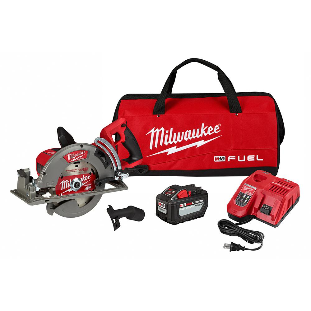Milwaukee M18 FUEL 18-Volt 7-1/4 in. Lithium-Ion Cordless Rear Handle Circular Saw Kit with 12.0 Ah Battery and Rapid Charger