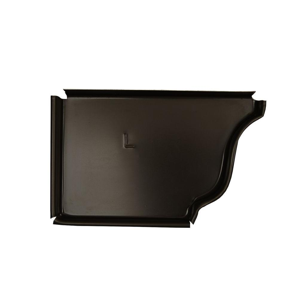 Amerimax Home Products 5 in. Dark Bronze Aluminum Left End Cap