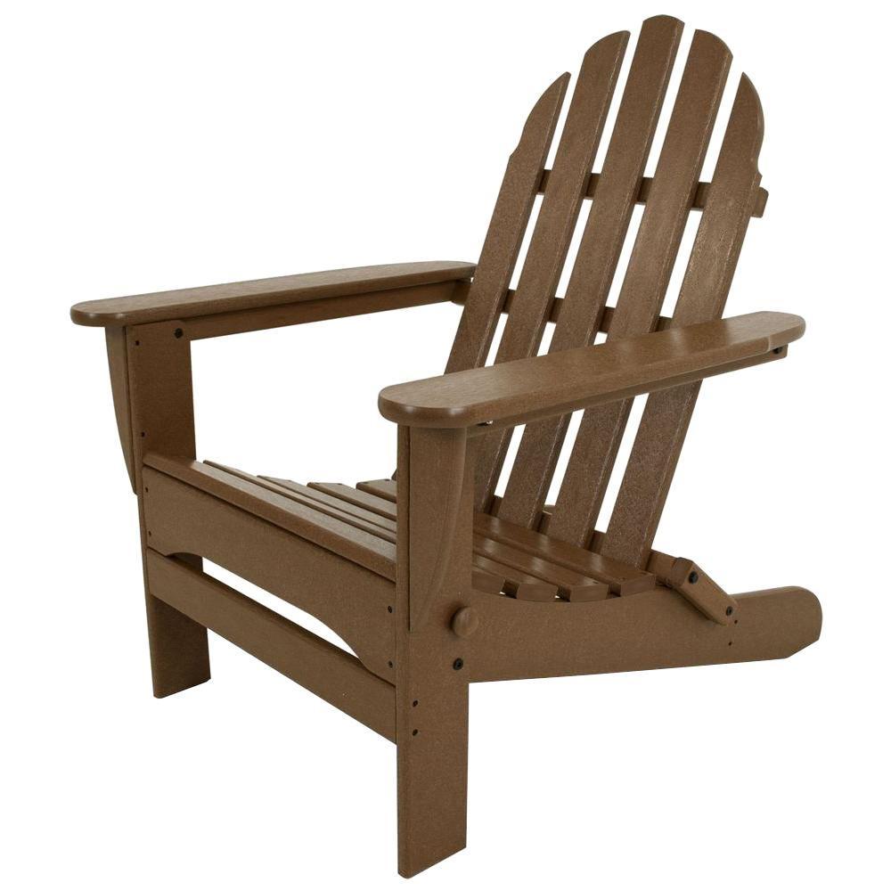 Beau POLYWOOD Classic Teak Plastic Patio Adirondack Chair