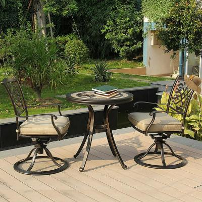 Brown 3-Piece Cast Aluminum Round 28.6 in. Ceramic Top Table Outdoor Bistro Set w/ Swivel Dining Chairs & Beige Cushions