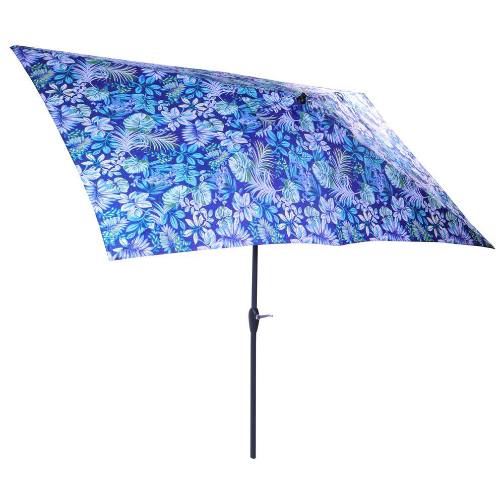 10 ft. x 6 ft. Aluminum Market Patio Umbrella in Tropical Palm with Push-Button Tilt