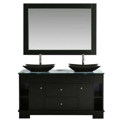 D Double Vanity in Espresso with Glass Vanity Top in Clear with Black Basins and Mirror