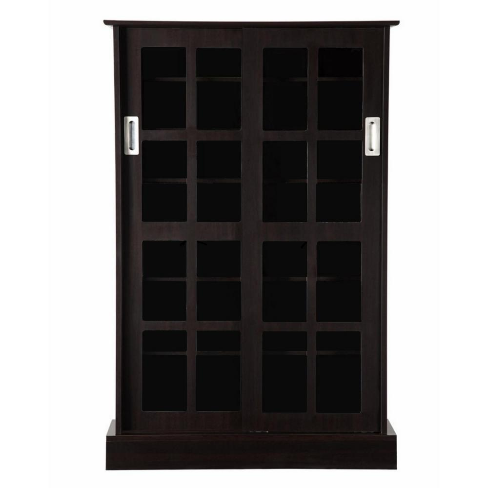 Atlantic Espresso (Brown) Media Storage Atlantic, Inc. 94835721 Uniquely designed for maximum media storage, this sophisticated cabinet fits traditional living rooms and upscale decor. Formal, elegant and functional two-way sliding glass door design provides easy access to media. This is a good solution for organizing your growing movie and music collection. Color: Espresso.