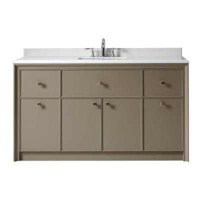 Merveilleux Martha Stewart Living Parrish 60 In. W X 22 In. D Bath Vanity In Mushroom  With Marble Top In Yves White