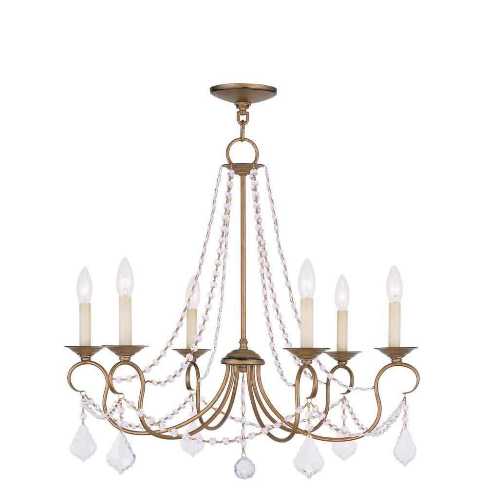 Providence 6-Light Antique Gold Leaf Incandescent Ceiling Chandelier