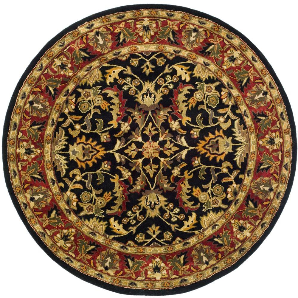 safavieh heritage black red 3 ft 6 in x 3 ft 6 in round area rug hg953a 4r the home depot. Black Bedroom Furniture Sets. Home Design Ideas