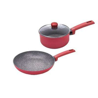 Riviera 3-Piece Red Cookware Set with lid