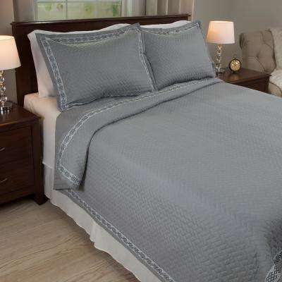 Valencia Embroidered Gray Polyester King Quilt
