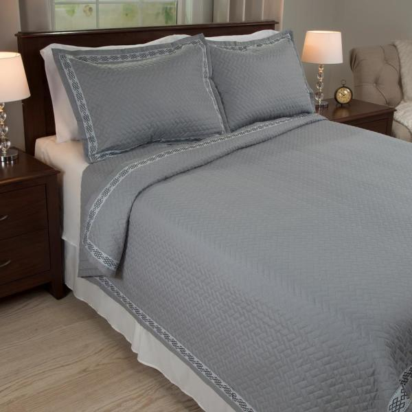 Lavish Home Valencia Embroidered Gray Polyester King Quilt