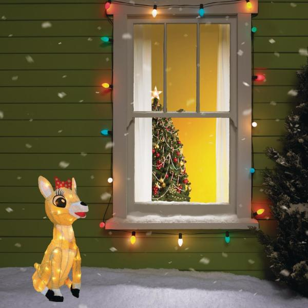 Rudolph 26 In Rudolph 3d Clarice Outdoor Lighted Christmas Decor 16338 Myt The Home Depot
