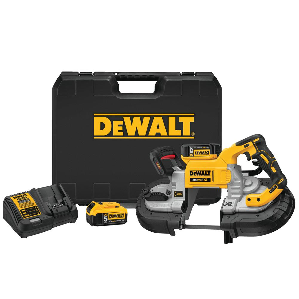DEWALT 20-Volt MAX Lithium-Ion Cordless 5 in. Capacity Bandsaw with 2 Batteries 5.0 Ah Charger and Case