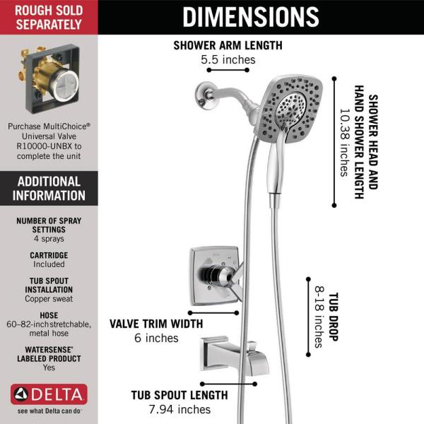 DELTA FAUCET Ashlyn 17 Series Dual-Function Tub and Shower Trim Kit with 2-Spray Touch-Clean In2ition 2-in-1 Hand Held Shower Head with Hose Chrome T17464-I Valve Not Included