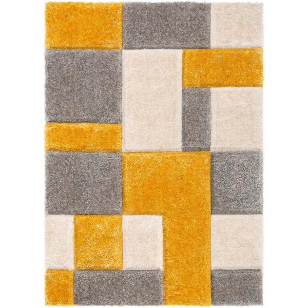 San Francisco Escondido Yellow Modern Geometric Squares 5 ft. 3 in. x 7 ft. 3 in. 3D Carved Shag Area Rug