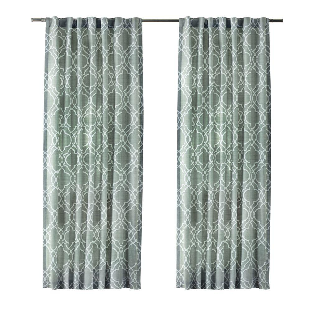Home Decorators Collection Spring Blue Garden Gate Back Tab Curtain 1623947 The Home Depot