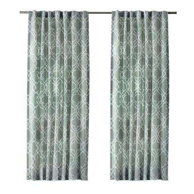 Garden Gate Light Filtering Window Panel in Spring Blue - 54 in. W x 108 in. L