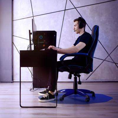 "Colortex® 9Mat® Polycarbonate 9-Sided Blue Gaming E-Sport Chair Mat for Hard Floors - 38"" x 39"""