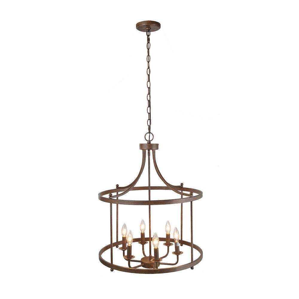Lnc 6 Light Bronze Hanging Lantern Chandelier