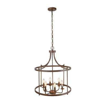 6-Light Bronze Hanging Lantern Chandelier
