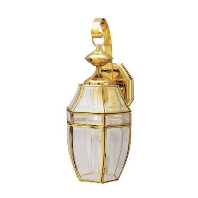 1-Light Polished Brass on Solid Brass Steel Exterior Wall Lantern with Clear Curved Beveled Glass Panels