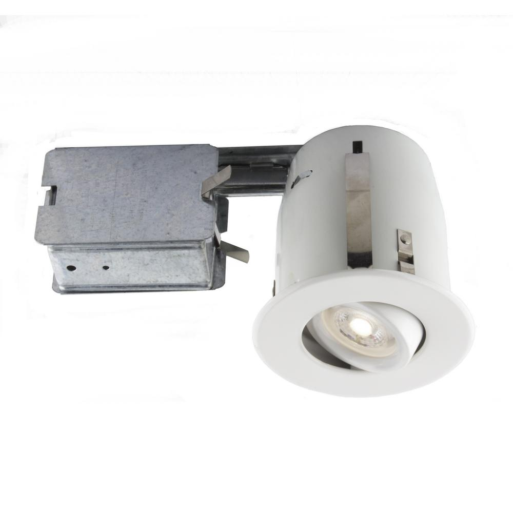 4-in. Matte White Recessed LED Lighting Kit with GU10 Bulb Included