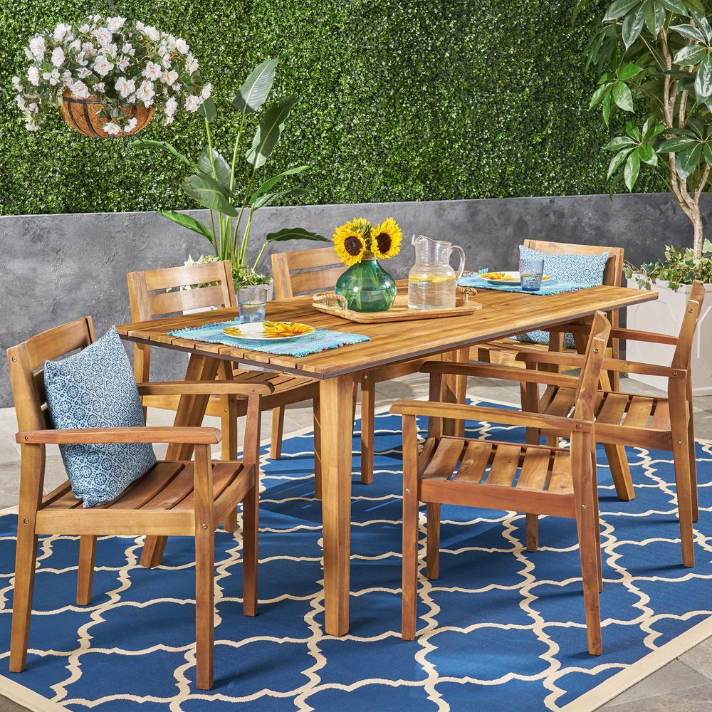 Graham Teak Brown 7-Piece Wood and Rustic Metal Outdoor Dining Set