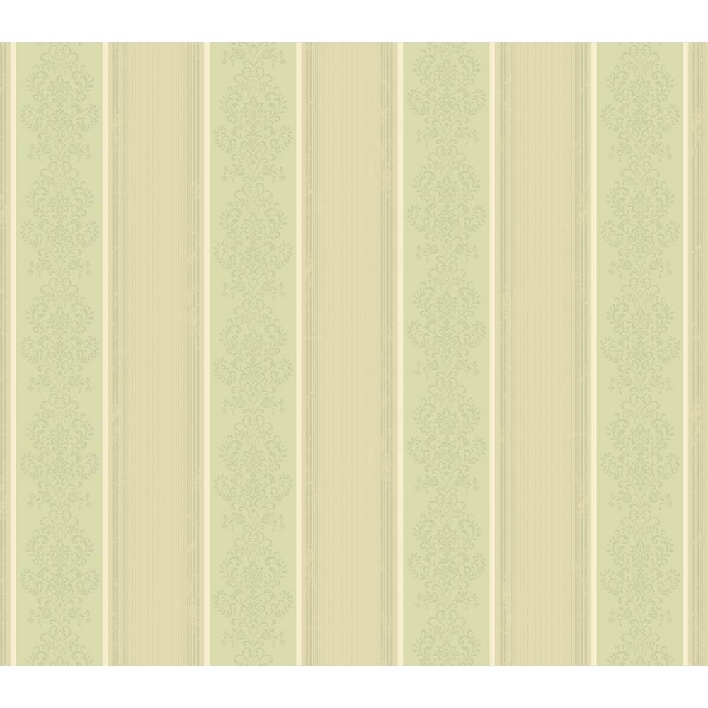 Arabelle Green Damask Stripe Wallpaper