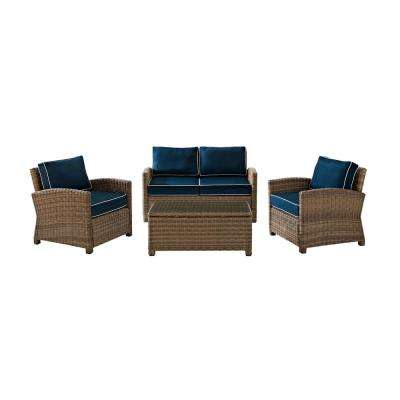 Bradenton 4-Piece Outdoor Wicker Seating Set with Navy Cushions - Loveseat, 2 Arm Chairs and Glass Top Table