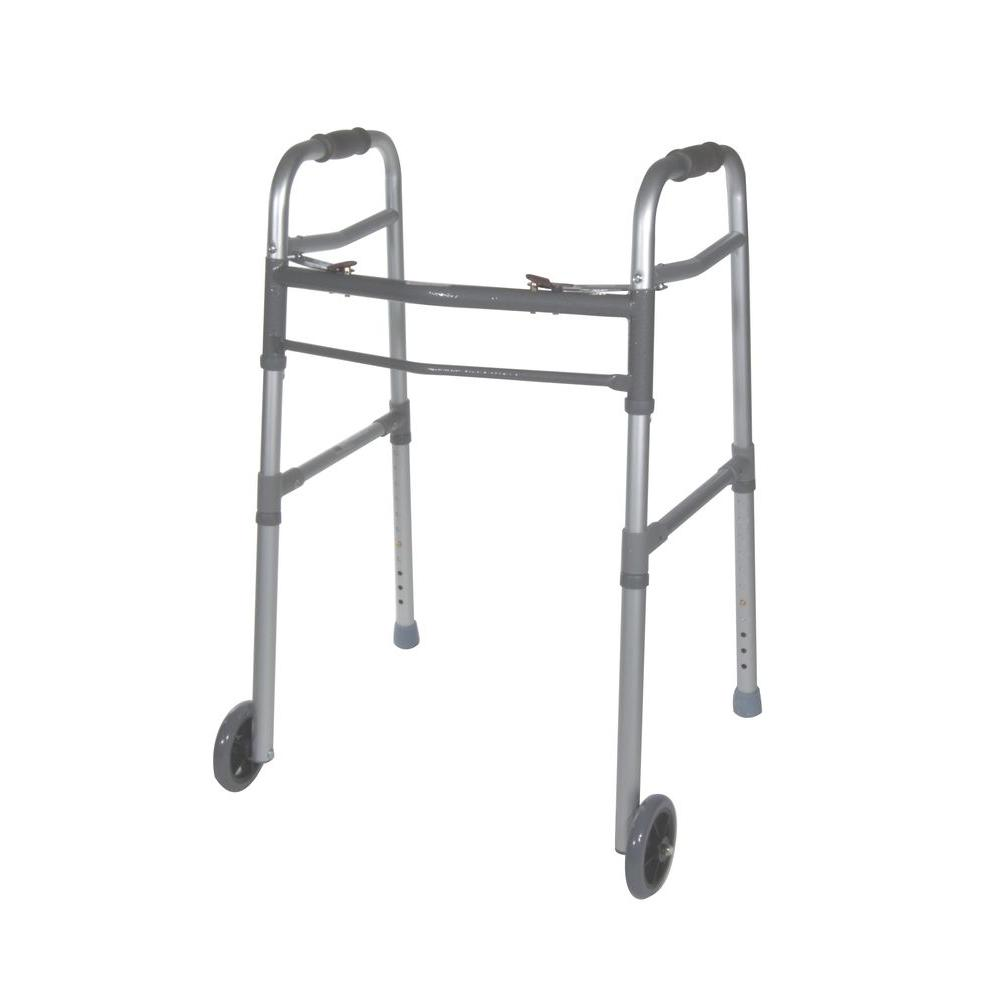 2-Button Folding Universal Walker with 5 in. Wheels