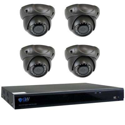 8-Channel HD-Coaxial 5MP Security Surveillance System with 4 Wired Dome Cameras 2.8 mm - 12 mm Lens 98 ft. IR 2TB HDD