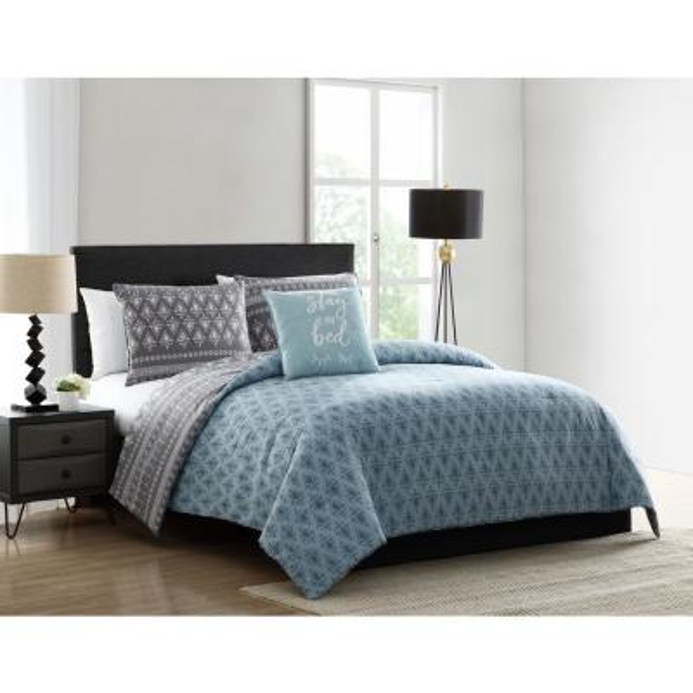 Danika Blue and Grey Geometric Print Twin Comforter Set