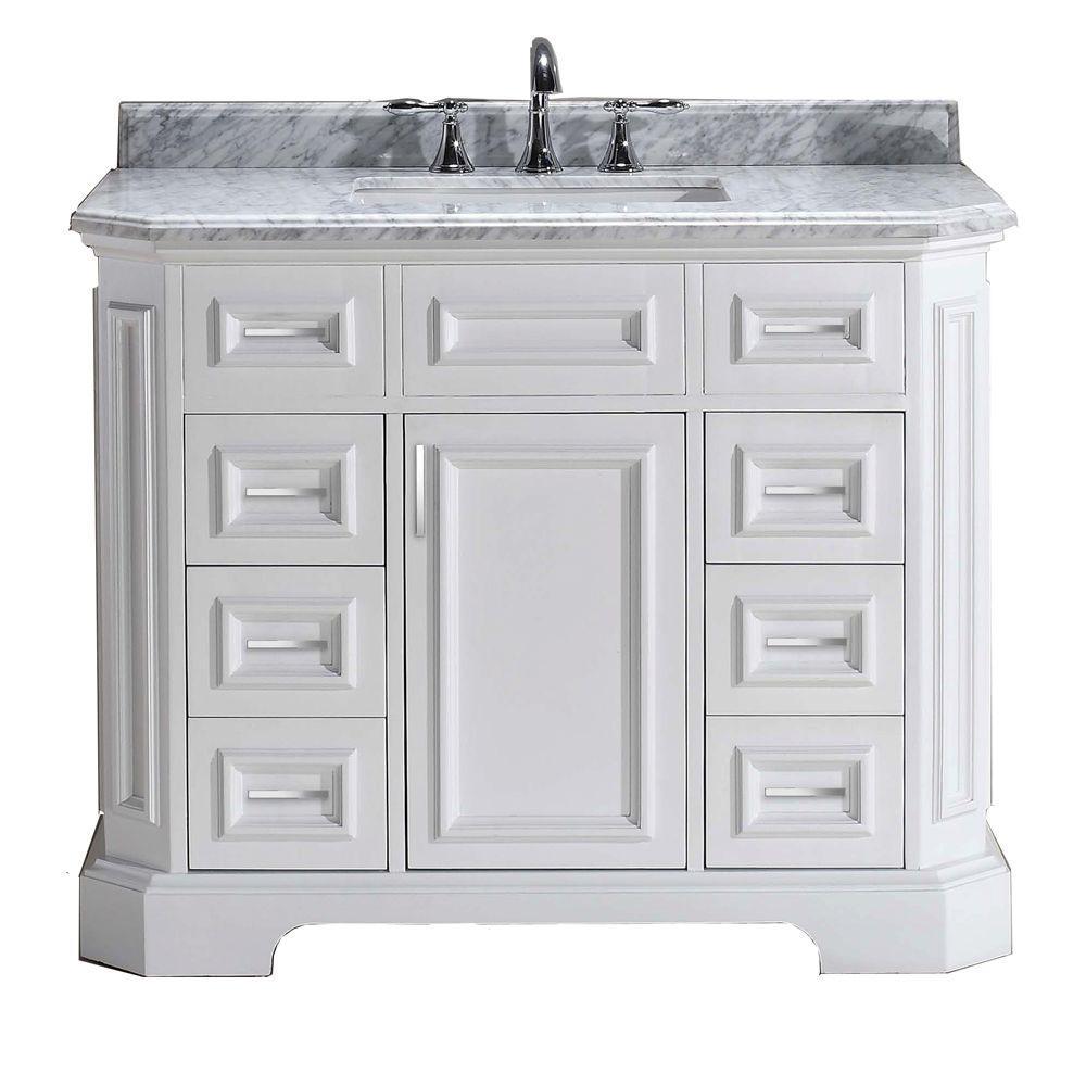 Bristol 42 in. Vanity in White with Marble Vanity Top in Carrara White