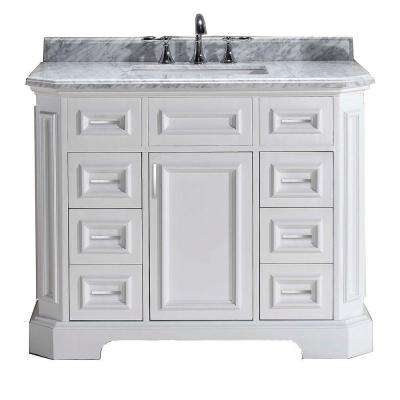 Bristol 42 in. Vanity in White with Marble Vanity Top in Carrara White