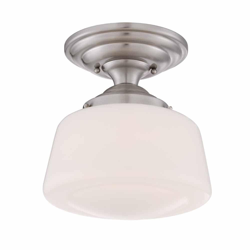Hampton Bay 105 in Brushed Nickel LED Semi Flush Mount with Opal
